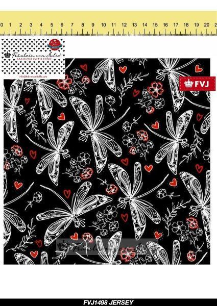Libelle Herz schwarz rot FVJ Baumwolljersey Jersey Meter