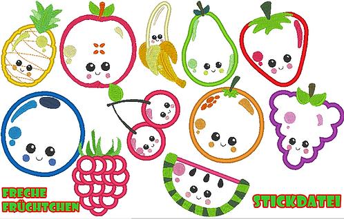 freche Früchtchen Obst Stickdatei für Stoffapplis