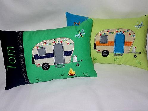 Camping Anhänger Campinganhänger inkl. Kissen ITH Stickdatei