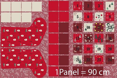 Rapport Panel Weihnachten Adventskalender + Stiefel nähen Baumwolle