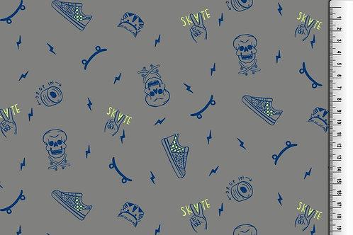 Softshell Scull für Jungs grau blau gelb Meterware Winddicht