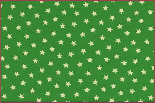 Sterne 1cm grün weiß Jersey Baumwolljersey Meterware