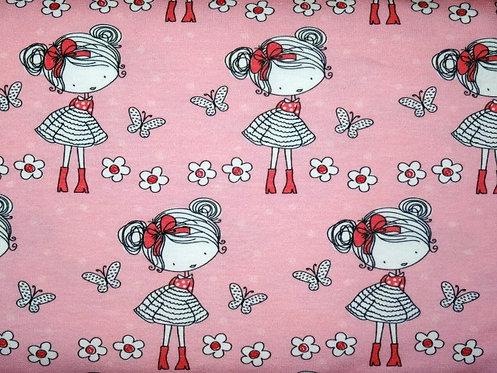 Mädchen mit Schmetterlingen rosa  Jersey Fräulein von Julie
