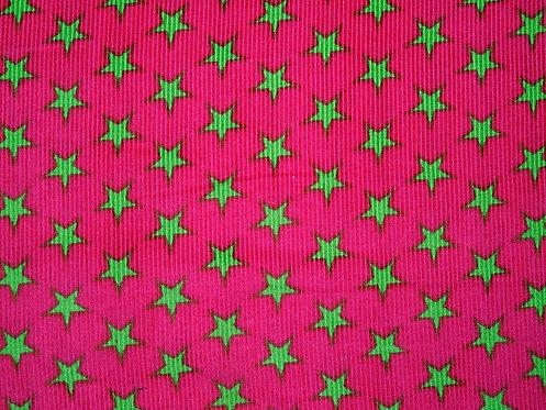 Feincord Cord Sterne pink hellgrün BW Meterware