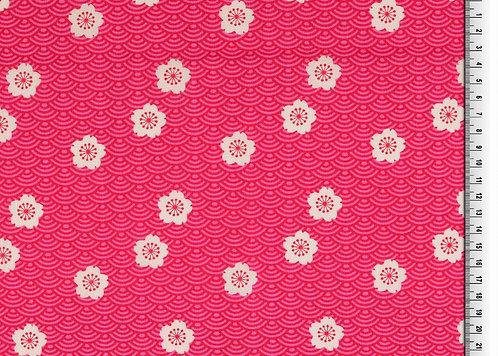 Blumen weiß auf pink Baumwolle Meterware Baumwollstoff