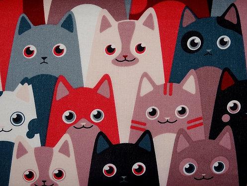 Katzen bunt Katze Katzenstoff Katzenkopf Baumwolle Meterware Webware