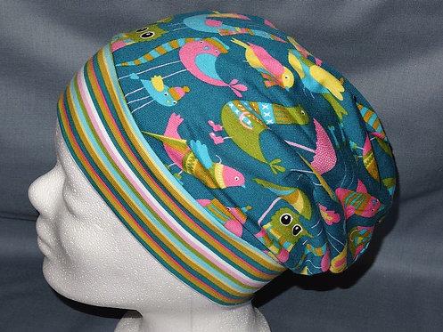 Beanie Vögel bunt petrol Mütze Tiere Handmade genäht Jersey