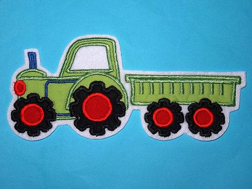 Traktor mit Hänger Aufnäher grün