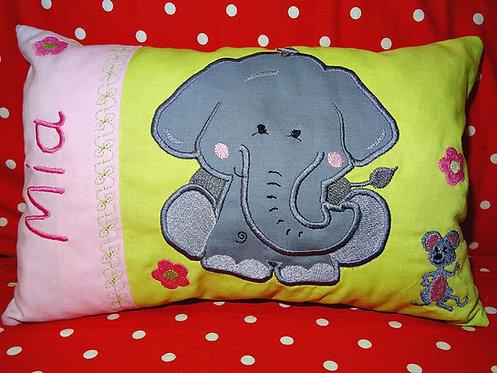 Namenskissen mit Elefant in Wunschfarbe
