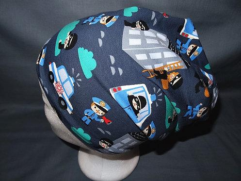 gefütterte Beanie Polizei Mütze Handmade genäht Jersey