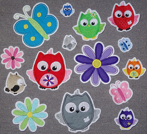 Eule Eulen Blume Schmetterling in Wunschfarbe Applikation Handmade Aufnäher