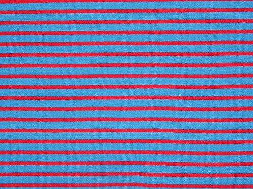 Jersey Streifen mittelblau rot Meterware gestreift Ringel