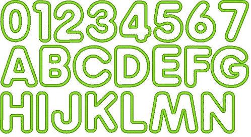 5cm Buchstaben und Zahlen Stickdatei Alphabet Zahl