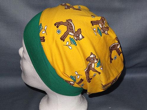Beanie Reh auf gelb Mütze Tiere Handmade genäht Jersey