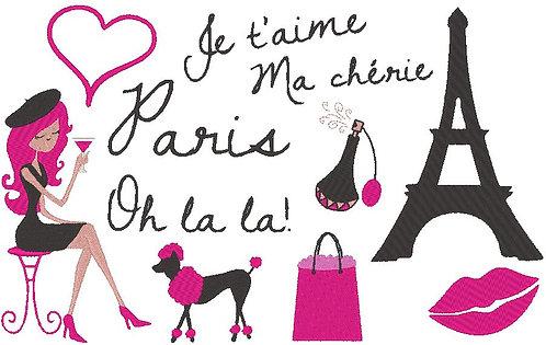 Paris Stickdatei Mädchen Hund