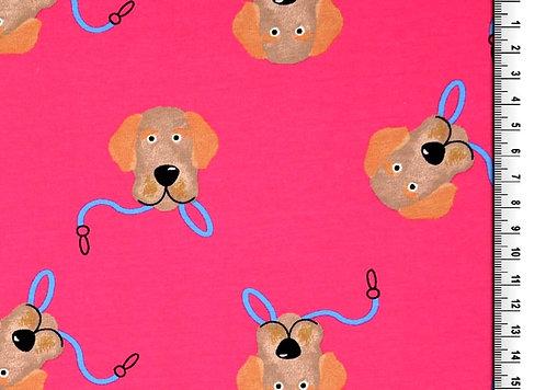 Hunde auf pink Hund Jersey Baumwolle Meterware Baumwollje