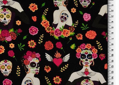 Frieda Skull bunt auf schwarz Baumwolle Meterware