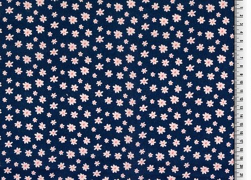Blumen auf dunkelblau Baumwolle Meterware