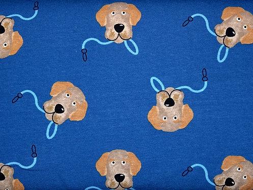 Hunde auf blau Hund Jersey Baumwolle Meterware Baumwollje