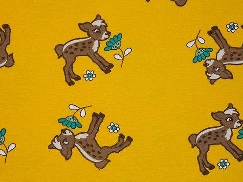 Reh mit Blume auf gelb Jersey Baumwolljersey Meterware
