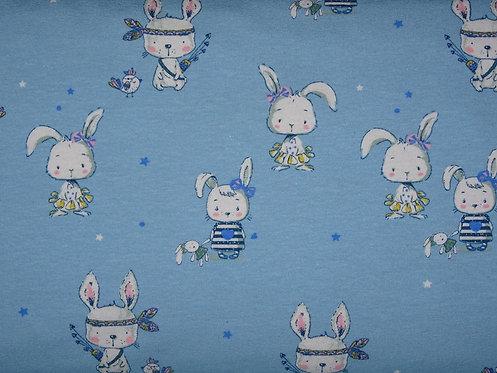 Boho Häschen auf hellblau Hase Cute Niedlich Jersey Baumwolljersey Meterware