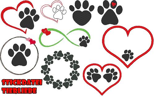 Tierliebe Stickdatei Herz mit Pfote