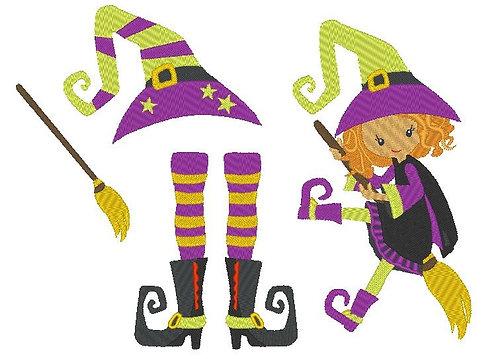Hexe mit Besen und Hut Stickdatei Fasching
