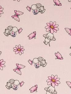 Hase Elefant Schmetterling und Blumen auf rosa Baumwolle