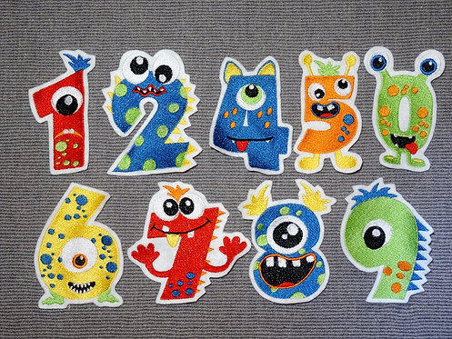 Monster Zahlen Party 1 2 3 4 5 6 7 8 9 0 Aufnäher Applikation Handmade Patch