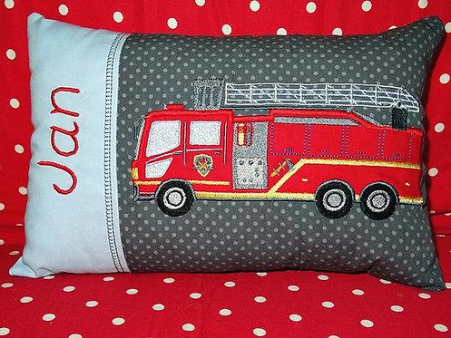 Namenskissen mit Feuerwehr in Wunschfarbe