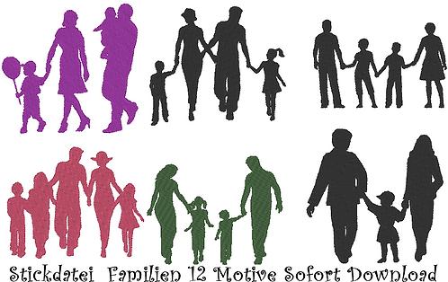Stickdatei Familien 12 Motive in 5 Größen Silhouetten