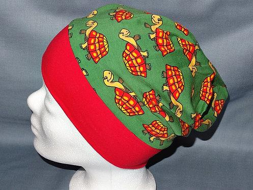 Beanie Schildkröte grün Mütze Tiere Handmade genäht Jersey
