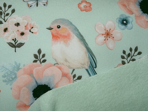 Softshell Fleece Rotkehlchen Vogel mint FVJ Meterware Winddicht Digitaldruck