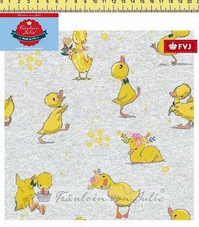 Enten auf grau Jersey Fräulein von Julie Jersey Digitaldruck