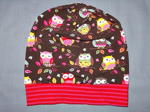 Beanie Eulen auf dem Ast braun pink Mütze Tiere Handmade genäht Jersey
