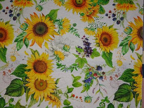Canvas Sonnenblume Beere Baumwolle Meterware Sonnenblumen
