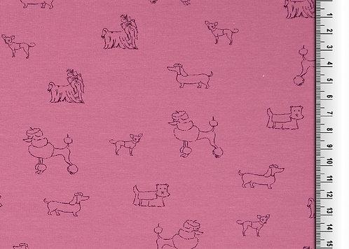 kleine Hunde auf altrosa Hund Jersey Baumwolle Meterware Baumwollje