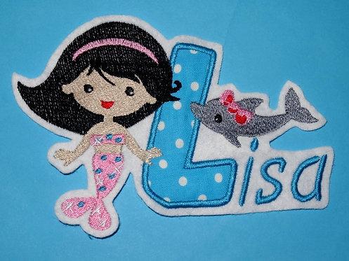 Meerjungfrau mit Delfin mit Name