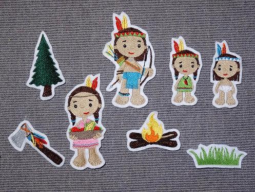 Indianer Tipi Tomahawk Aufnäher Applikation Handmade Patch Kanu