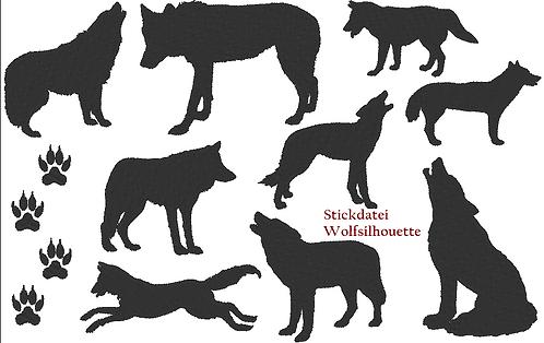 Wolf Silhouetten Stickdatei