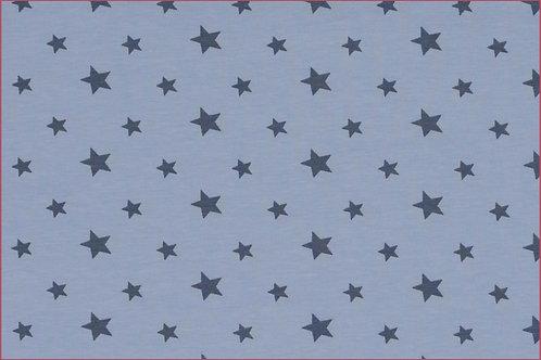 Sterne 1cm und 1,5cm hellblau grau Jersey Baumwolljersey Meterware