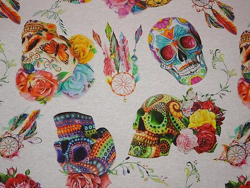 Canvas Skull bunt Rosen 100 % Baumwolle Meterware Totenkopf groß Blumen crazy