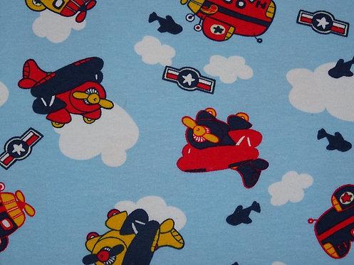 Flugzeug rot dunkelblau gelb auf hellblau Jersey Meterware Baumwolljersey