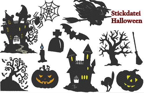 Halloween Silhouette Stickdatei