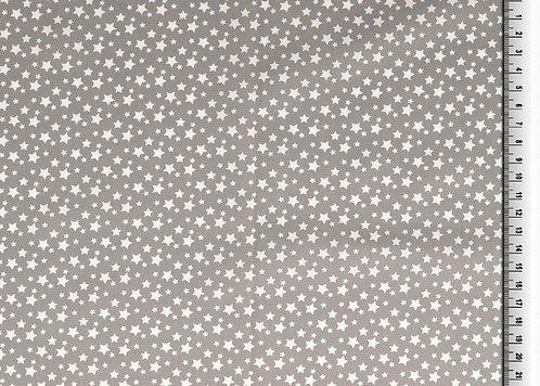 kleine Sterne weiß auf grau Baumwolle Meterware