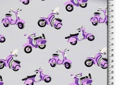 Leiche Webware mit Motorroller Roller Moped lila grau Viskose Meterware