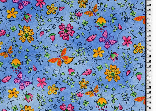 Blumen und Schmetterling blau Baumwolle Meterware organic