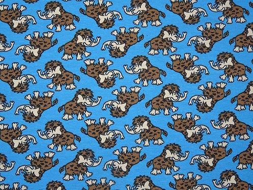 Mammut Jersey braun auf türkis blau Baumwolljersey Meterware