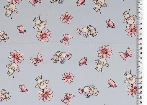 Hase Elefant Schmetterling und Blumen auf hellblau Baumwolle