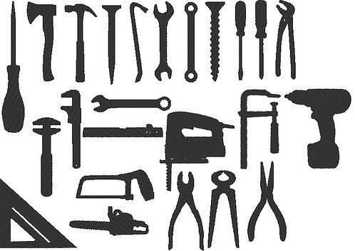 Werkzeug Silhouetten Stickdatei